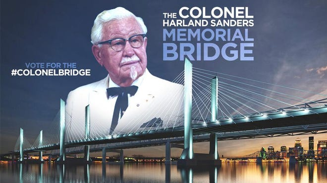 Yum !  Brands released this photo illustration on Twitter in February showing an image of KFC founder Col. Harland Sanders with a rendering of the downtown span of the Ohio River Bridges Project.