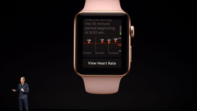 Apple COO Jeff Williams speaks about the Apple Watch during a media event at Apple's new headquarters in Cupertino, California on September 12, 2017. AFP_SD44P
