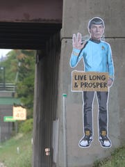 Mike Dellaria's image of Spock on the Averill Avenue overpass greeted commuters Thursday morning along westbound Interstate 490.