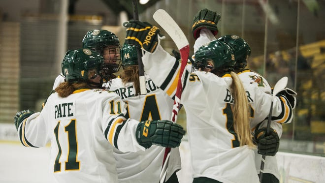 The Catamounts celebrate a goal during the women's hockey game between the Colgate Raiders and the Vermont Catamounts at Gutterson Fieldhouse on Friday night January 2, 2015 in Burlington, Vermont.