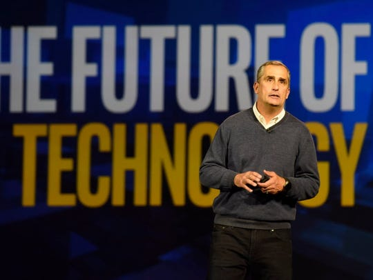 Intel CEO Brian Krzanich delivers the keynote at the