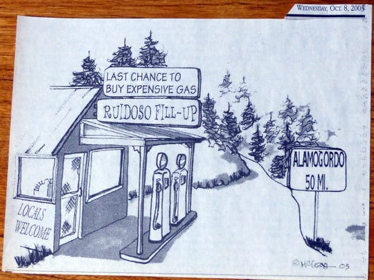 McLeod created this cartoon to win a twice a week assignment at the Ruidoso News creating local political cartoons.
