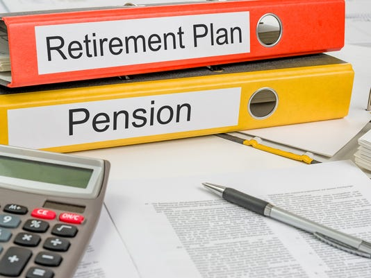 Folders with the label Retirement Plan and Pension