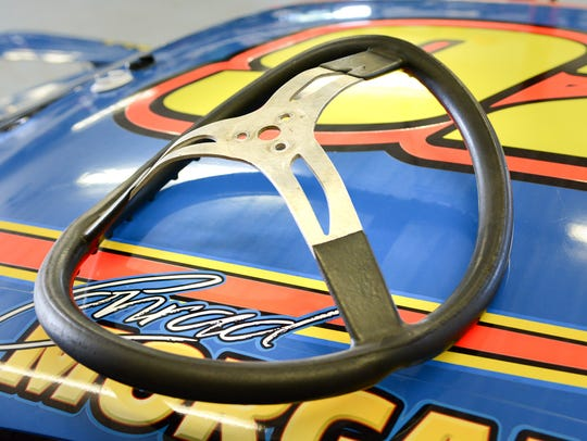 The bent steering wheel from Conrad Morgan's 2016 crash