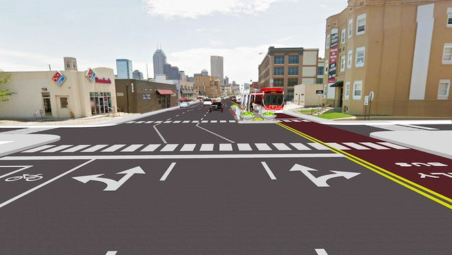 Artist rendering of proposed Red Line along Capitol Avenue.