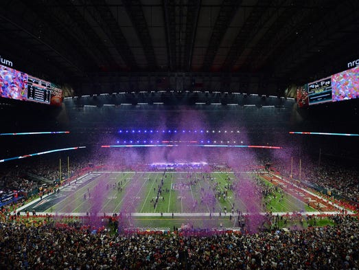 Confetti fills the air following the New England Patriots