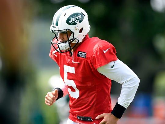 New York Jets quarterback Christian Hackenberg stretches
