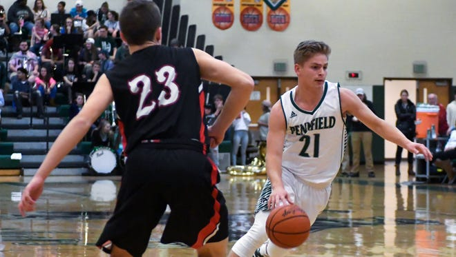 Pennfield's Grant Petersen drives to the basket during action earlier this season.