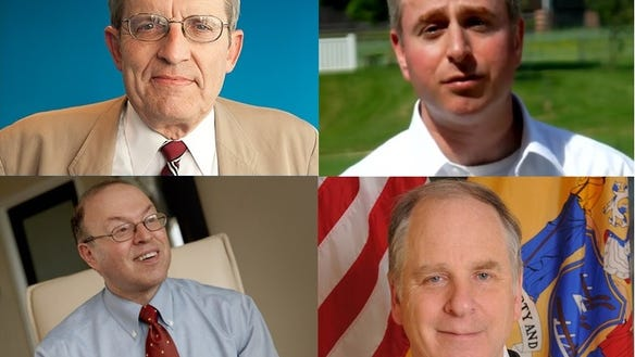 Today's Republican primary for U.S. Senate features (from top left, clockwise) Jeff Bell, Brian Goldberg, Richard Pezzullo and Murray Sabrin. (Photos from campaign websites.)