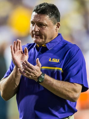 LSU Tigers head coach Ed Orgeron as the Tigers prepare to play the Alabama Crimson  in Baton Rouge on Saturday night in Death Valley, November 5, 2016. BUDDY DELAHOUSSAYE/ THE ADVERTISER