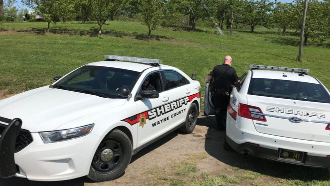 Deputies investigate in an apple orchard on Joy Road in Sodus, Wayne County, on May 23, 2018.