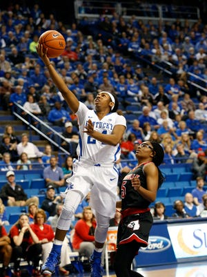 Kentucky's Taylor Murray gets past Louisville's Taja Cole to get the layup. Dec. 10, 2015