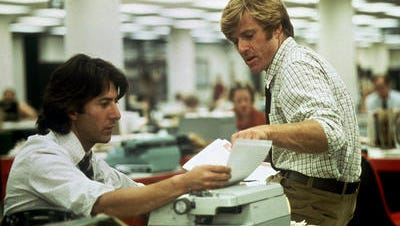 """Dustin Hoffman as Carl Bernstein and Robert Redford as Bob Woodward in the investigative reporter classic, """"All the President's Men"""""""