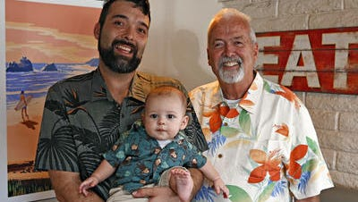 Three generations of Stidhams: John, right, his son Nick, left, and Nick's son Samuel, at The Original Breakfast House in northeast Phoenix on Oct.15, 2015.