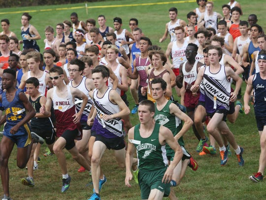 The start of the boys Varsity 2 race during the annual