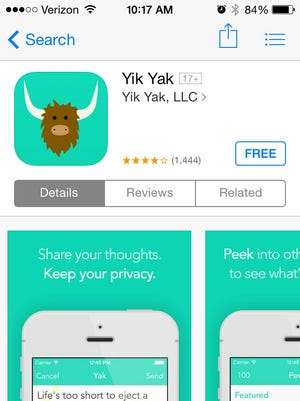 Screen grab of Yik Yak app in the iTunes app store. Some college campuses are growing concerned about the mean anonymous posts allowed by the app.