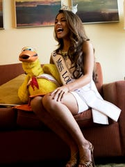 Laryssa Bonacquisti poses for a portrait with Waddles,