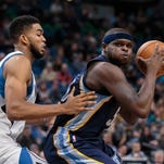Oct 19, 2016; Minneapolis, MN, USA; Memphis Grizzlies forward Zach Randolph (50) shoots in the second quarter against the Minnesota Timberwolves center Karl-Anthony Towns (32) at Target Center. Mandatory Credit: Brad Rempel-USA TODAY Sports