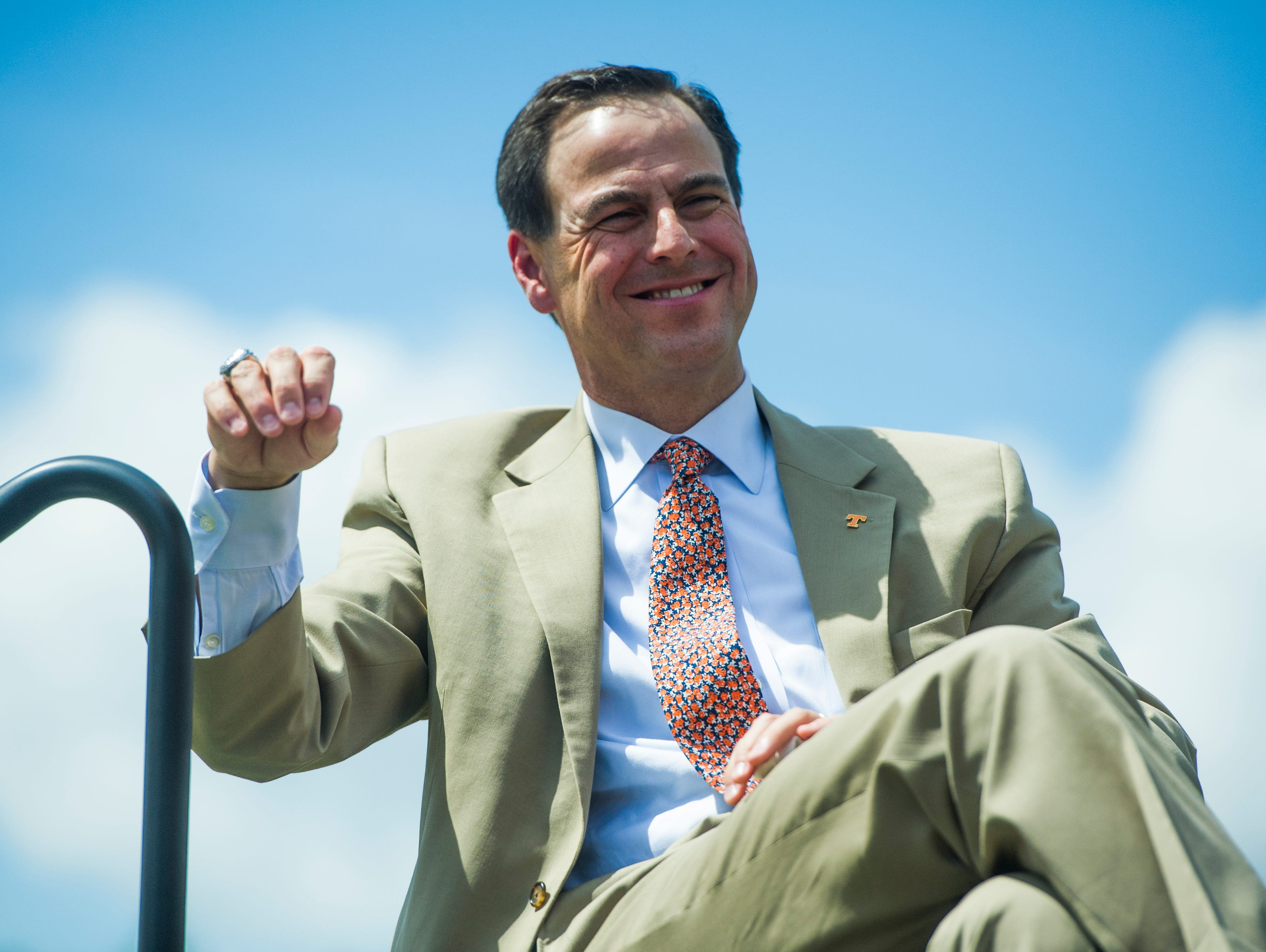 John Currie, Tennessee vice chancellor and director of athletics during a press conference introducing new University of Tennessee Baseball Head Coach Tony Vitello to the media, at Lindsey Nelson Stadium on Friday June 9, 2017.