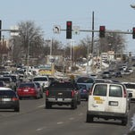 Traffic travels northbound on Delaware Avenue north of Oralabor Road in February. The intersection is due to receive several new turn lanes in 2017 to alleviate congestion.