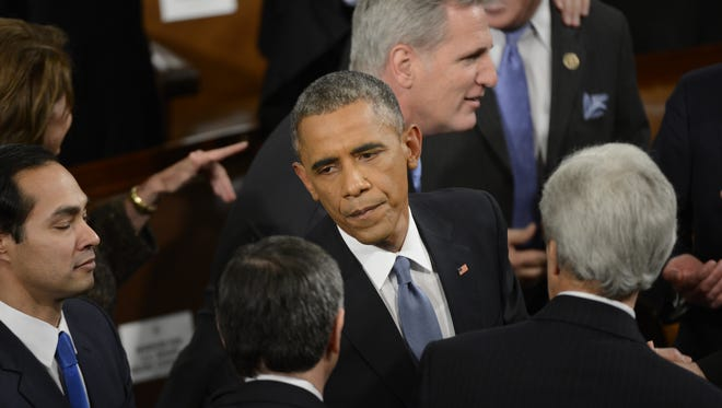 President Obama arrives for the State of the Union address on Jan. 20, 2015.