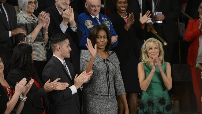 First lady Michelle Obama at the State of the Union Address
