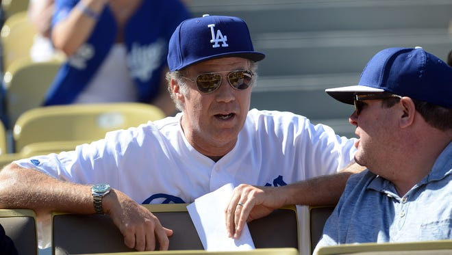 Will Ferrell in attendance as the Los Angeles Dodgers play against the St. Louis Cardinals in game five of the National League Championship Series baseball game at Dodger Stadium.