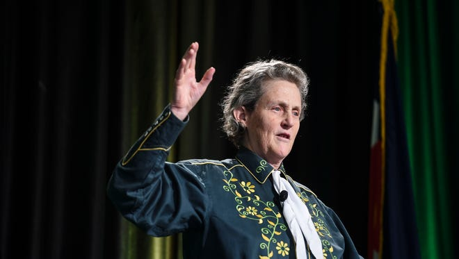 CSU Professor of Animal Sciences Temple Grandin speaks for the CSU President's Lecture Series Monday, April 13, 2015 at CSU's Lory Student Center in Fort Collins, CO.