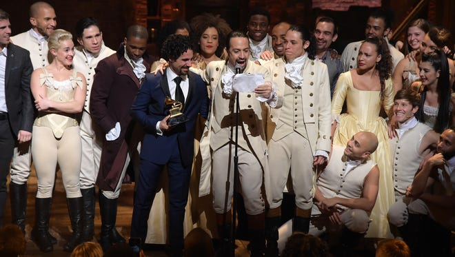 """The cast of """"Hamilton"""" celebrates after winning a Grammy Award Monday. Oshkosh native Gerald Avery is part of the cast of the Broadway show."""