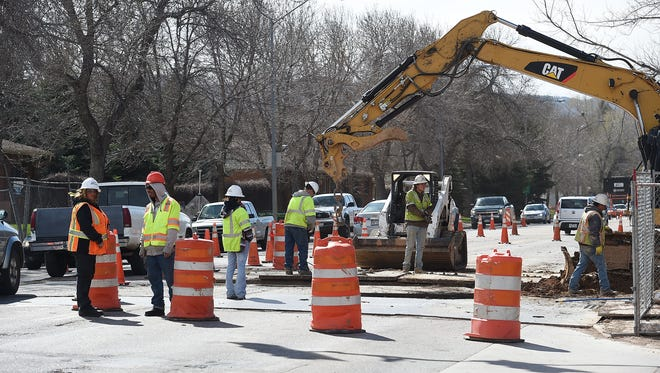 A pedestrian bypass is under construction on Prospect Road at Center Avenue on Tuesday, April 5, 2016