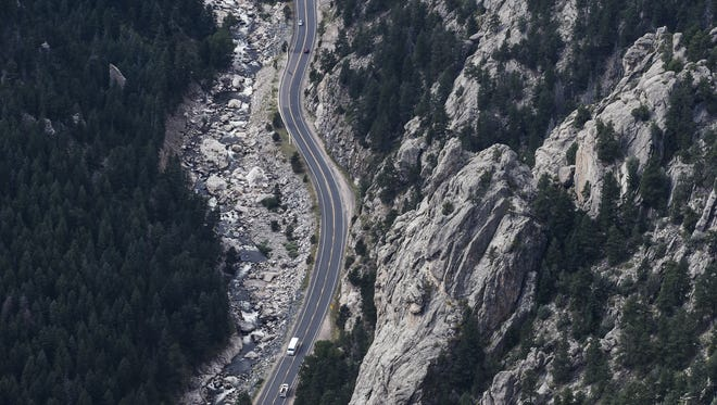 The Big Thompson Canyon between Loveland and Estes Park, seen here in this 2015 aerial photo, will be closed for nine months starting in late October.