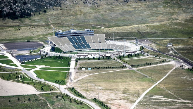 A view of Hughes Stadium in western Fort Collins. CSU is considering turning the property into affordable housing for its employees, along with other options.