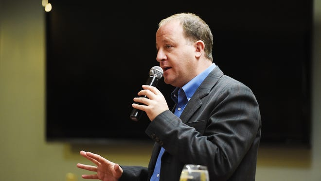 U.S. Rep. Jared Polis speaks at a town hall-style Q&A session at New Belgium on Monday, February 22, 2016.