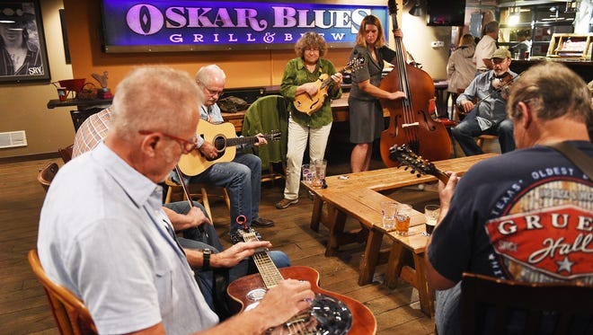 Many regulars attended the open bluegrass jam on Tuesday evenings at Oskar Blues in Lyons.