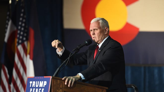 Mike Pence speaks at a rally at The Ranch at the Larimer County Fairgrounds on Wednesday, November 2, 2016.