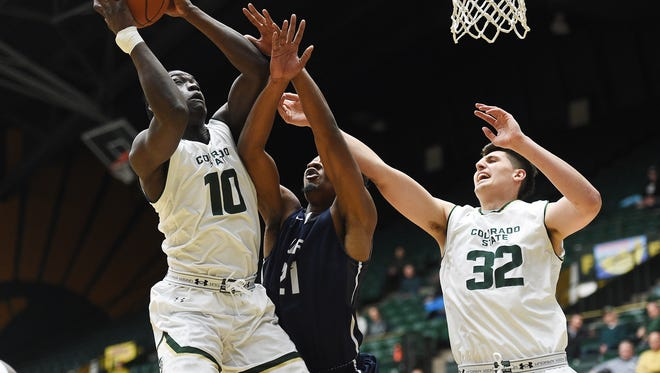 Che Bob attempts a shot during the Colorado State Rams' game against the Arkansas-Fort Smith Lions at Moby Arena on Tuesday, December 6, 2016.