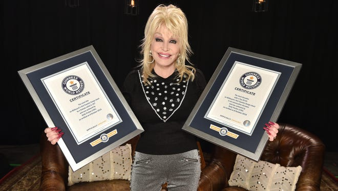 Dolly Parton poses with her two Guinness World Records plaques in hand.