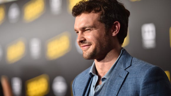Alden Ehrenreich chatted on the carpet during the premiere