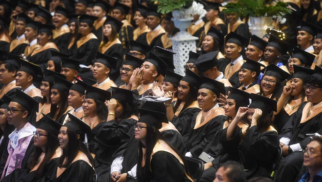 Titans cheer on a performance by a group of their administrators during the Tiyan High School Class of 2018 Graduation Ceremony at the University of Guam Calvo Field House on June 5, 2018.