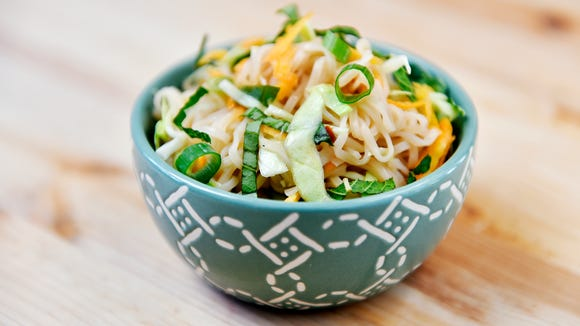 Thai-inspired noodle salad, made with carrots, cabbage and scallions from a CSA share from Prescott's Patch.
