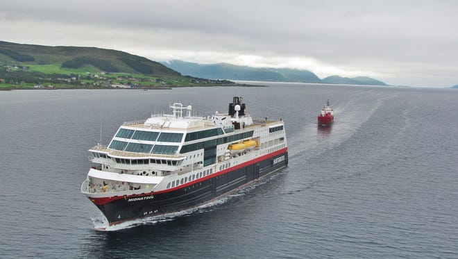 Named for the midnight sun, Hurtigruten's 1,000-passenger, 16,000-ton MS Midnatsol carries cars, cargo and passengers on a 1,330-mile journey along the Norwegian coast between Bergen in the southwest and Kirkenes, several hundred miles above the Arctic Circle near the Russian border.