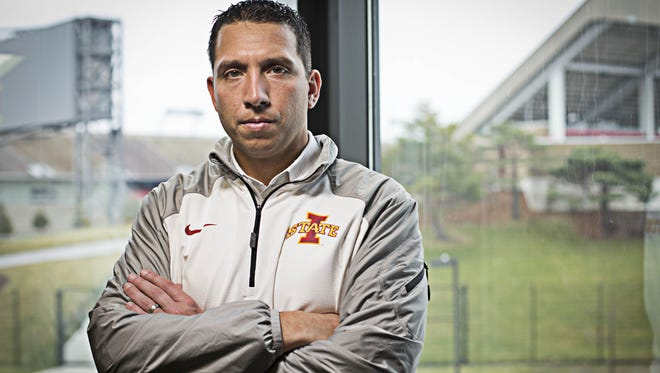Iowa State head football coach Matt Campbell in his office at the Bergstrom football complex Tuesday Dec. 15, 2015, in Ames, Iowa.