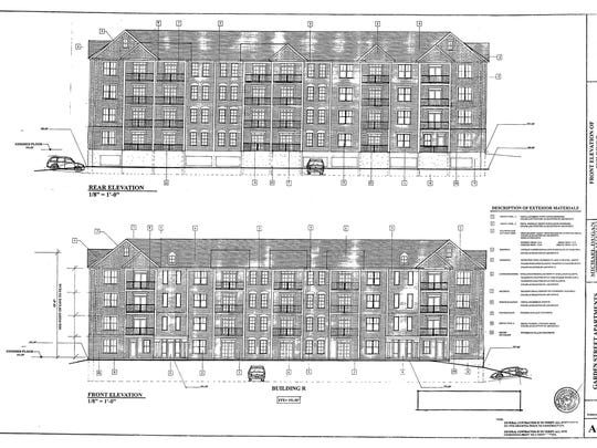 The largest of the buildings proposed for a new residential development in Burlington, this apartment building would house 44 units.