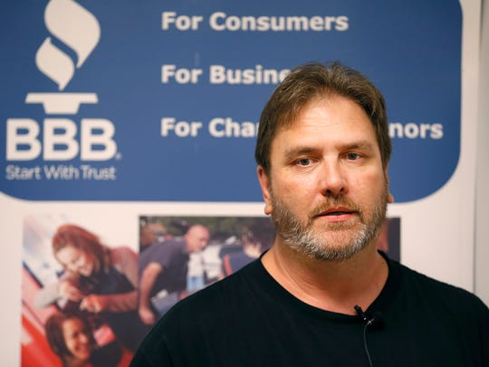 Silvio Bower talks about buying a timeshare during a press conference to promote a Better Business Bureau study on the Missouri timeshare industry on Tuesday, July 24, 2018.