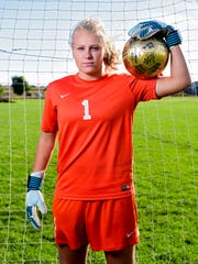 Hailee Fischer, goalkeeper for West Central, poses for a portrait on Wednesday, Oct. 11, 2017.