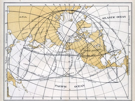 Solar eclipse of June 1918 passed through the Treasure
