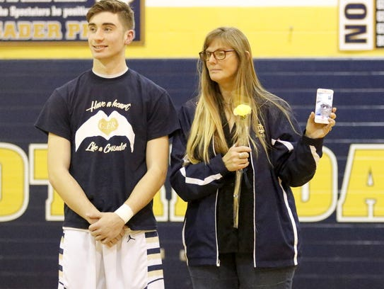 Elmira Notre Dame senior Gary Raupers is recognized