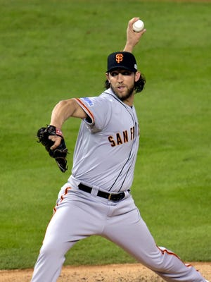 Madison Bumgarner was brought in as relief pitcher in the fifth inning.