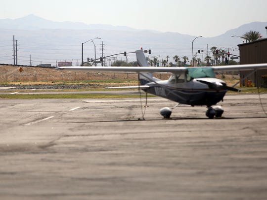 The traffic lights on Jefferson Street in Indio can be seen from the Bermuda Dunes Airport. The City of Indio has rescinded its approval of an orthopedic joint center that would have been located just beyond the traffic signal.
