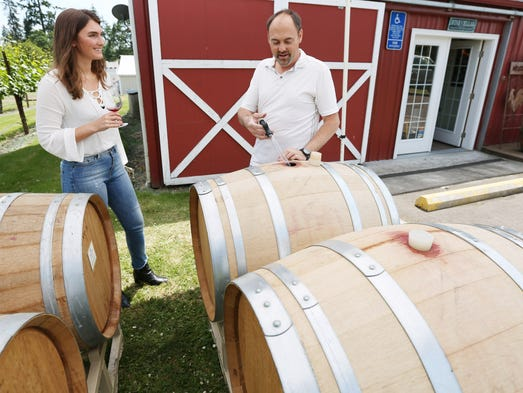 Winemaker and Owner Sean Driggers gets a barrel tasting
